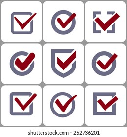 Confirm checkbox signs set vector