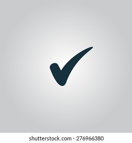 confirm. Flat web icon or sign isolated on grey background. Collection modern trend concept design style vector illustration symbol