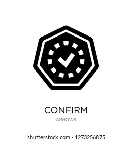 confirm icon vector on white background, confirm trendy filled icons from Arrows collection, confirm simple element illustration