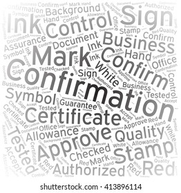 Confirmation ,Word cloud art background