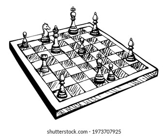 Conflict attack choice white wood table. Black line ink hand drawn castle tower toy move match plan defeat logo emblem concept design sketch. Retro art doodle cartoon style chessmen shot render winner