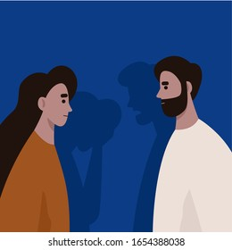 Conflict between husband and wife. Domestic violence and abusing. Gaslighting. Divorce. Flat vector illustration.