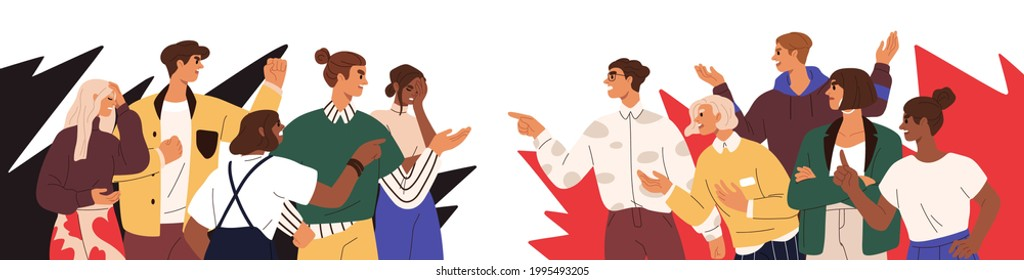 Conflict between opponents. Dispute of two society groups with different opinions. Concept of social fight and disagreement. People's confrontation. Flat vector illustration isolated on white