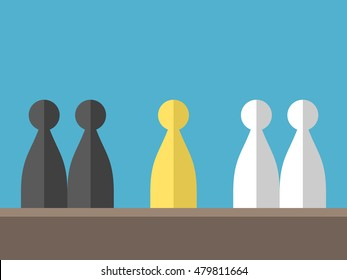 Conflict between two different groups on blue background. Mediation, diplomacy and opposition concept. Flat design. Vector illustration. EPS 8, no transparency