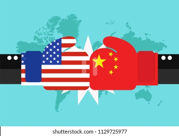 Conflict between USA and China with world map background. Two hand with boxing gloves fighting.