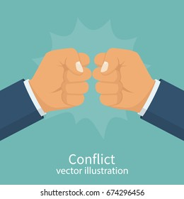 Conflict concept. Two fists clenched in a dispute. Aggressive solution to problem. Disagreements of businessmen. Business conflict, debate. Vector illustration flat design. Isolated on background.