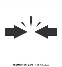 Conflict of interest. Business concept. arrows  against each other. Vector illustration flat design. Isolated on white.Competitiveness symbol.