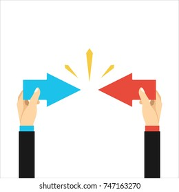 Conflict of interest. Business concept. arrows red and blue against each other. Vector illustration flat design. Isolated on white.Competitiveness symbol.