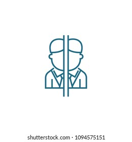 Conflict of interest linear icon concept. Conflict of interest line vector sign, symbol, illustration.