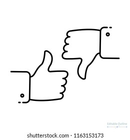 Conflict of interest, Outline icon, thumbs up and thumbs down, dispute, like and dislike, yes no icon