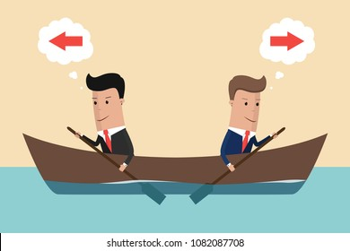 Conflict of interest. Two businessman rowing in different directions. Vector illustration