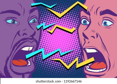 conflict. lightnings. two people are angry. Pop art retro vector illustration vintage kitsch