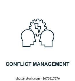 Conflict Management icon from life skills collection. Simple line Conflict Management icon for templates, web design and infographics