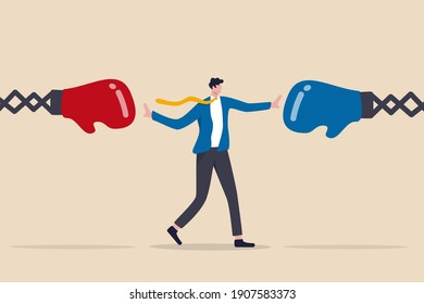 Conflict management, leadership skill to compromise and solving argument problem, negotiation or stop fighting concept, businessman leader stand in the middle to stop conflicted boxing globe fighting.