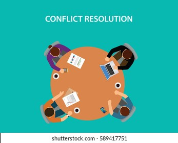 conflict resolution illustration with four people discuss on table with paperworks on top of table