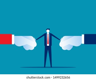 Conflict resolution of organization. Concept business solution vector illustration, Problem, Fight.