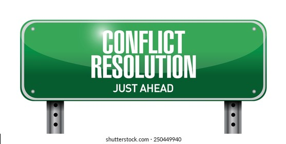 conflict resolution road sign illustration design over a white background