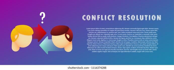Conflict resolution. Vector illustration. Flat. Gradient.