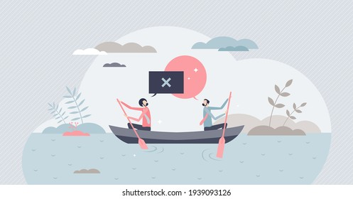 Conflict situation with opposite opinions and interests tiny person concept. Businessman challenge, frustration and struggle with disagreement battle vector illustration. Negotiation with dead end.