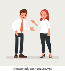 Conflict at work. A woman boss scolds an office worker man. Vector illustration in a flat style