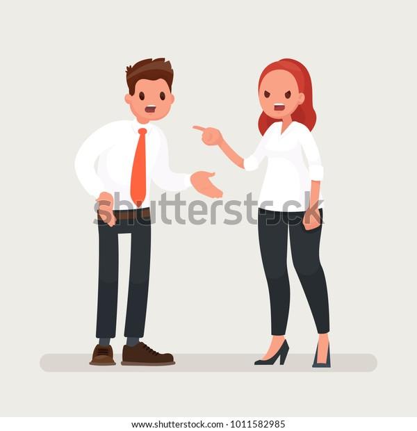 Konflikte am Arbeitsplatz. Eine Chefin schimpft einen Büroangestellten. Vektorgrafik im Flachstil