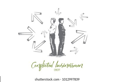 Conflicted businessman concept. Hand drawn conflicted businessmen choosing between directions with arrows around them. Difficult choice and hard decision isolated vector illustration.
