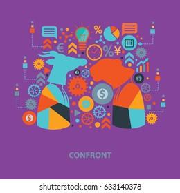 Confront concept design,clean vector
