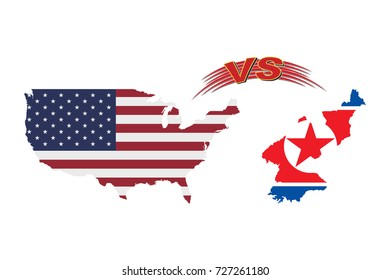 The confrontation between the United States of America and North Korea. Flag of the USA and Korea on a white background. Flat vector illustration EPS 10