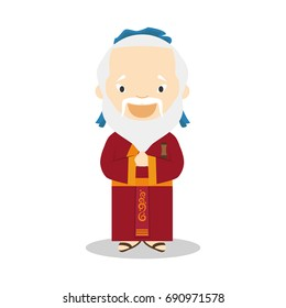 Confucius cartoon character. Vector Illustration. Kids History Collection.