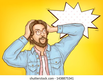 Confused and baffled man holding head in hands, looking with surprising on something, male customer shocked because of price discount offer pop art vector illustration. Sale promo banner template