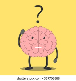 Confused brain character scratching head in bewilderment and question mark. Memory, problem, task, solution, science, creativity, imagination concept. EPS 8 vector illustration, no transparency
