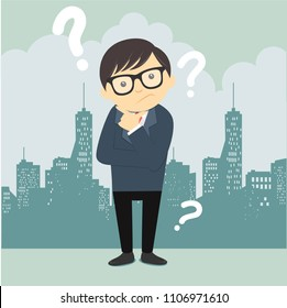 Confused business people are looking for solutions