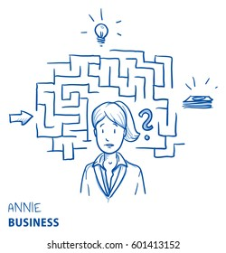 Confused business woman, with maze and icons. Concept for confusion, irritation, clueless, lost. Hand drawn line art cartoon vector illustration.