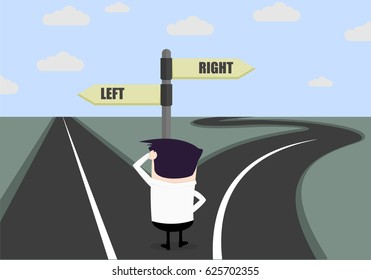 confused businessman looking at a roadsign, difficult choice concept, , eps10 vector illustration