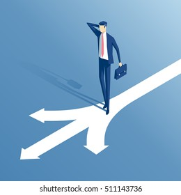 confused businessman standing at a crossroads isometric illustration,  businessman standing in front of arrows as symbol for choice, career path or opportunities, business concept decision