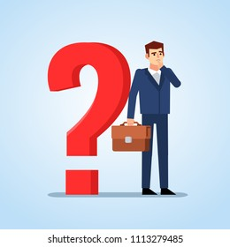 Confused businessman standing near big question mark and thinking. Making difficult decision concept. Flat design vector illustration