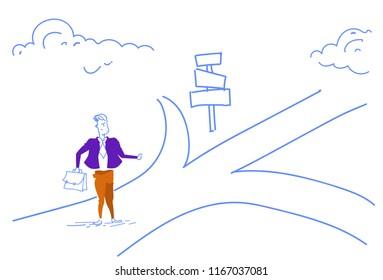 confused businessman standing road sign choose direction way signboard arrow sketch doodle horizontal vector illustration
