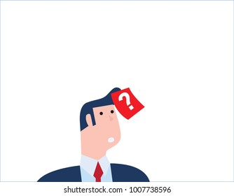 Confused businessman thinking with question mark on sticky note on hair