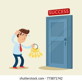 Confused businessman try to find the right key to unlock door. Keys to success. Business, vector flat illustration. Cartoon, concept.