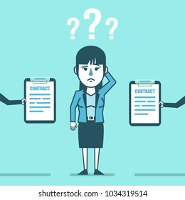 Confused businesswoman decides what contract offer to choose. Job offer, difficult choice. Simple style vector illustration
