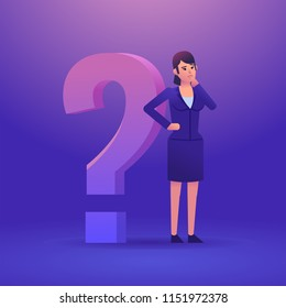 Confused businesswoman standing near big question mark and thinking. Make decision, decide, think concept. Colorful design vector illustration
