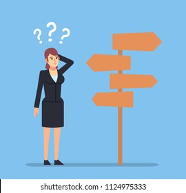 Confused businesswoman stands at crossroads and thinks where to go. Choose business direction concept. Flat design vector illustration