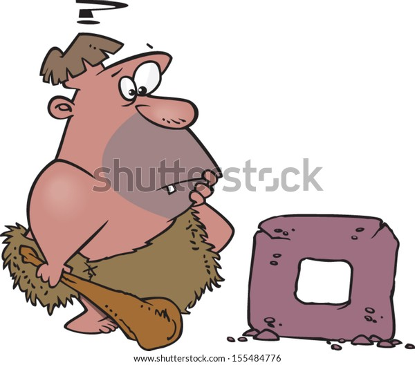 Confused cartoon caveman with a square wheel