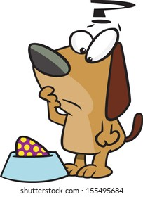 Confused cartoon dog with an Easter egg in his dog dish