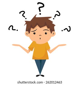 Confused child, shrugging shoulders, vector illustration, isolated white background