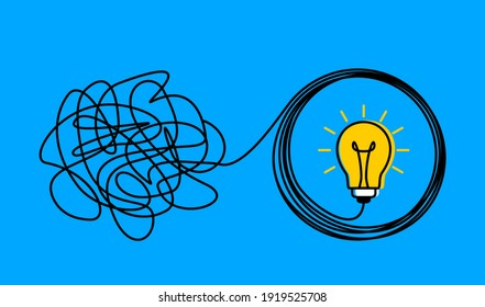 the confused concept of chaos in thoughts, the idea of enlightenment and order in the head. the concept of psychology and a personal trainer. vector illustration in linear style doodle