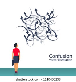 Confused direction. Confusion concept. Vector illustration flat design. Isolated on white background. Businesswoman faces a lot of arrows, road signs. Problem way.