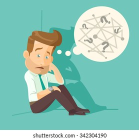 Confused employee. Vector flat illustration
