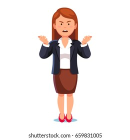 Confused & frowned business woman or boss standing shrugging shoulders complaining expressing anger and frustration yelling gesturing with her hands. Flat style vector illustration on white background