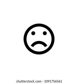 Confused, Frowning, Slightly Frowning, Sad Face vector illustration smiley emoji emoticon sticker black icon symbol